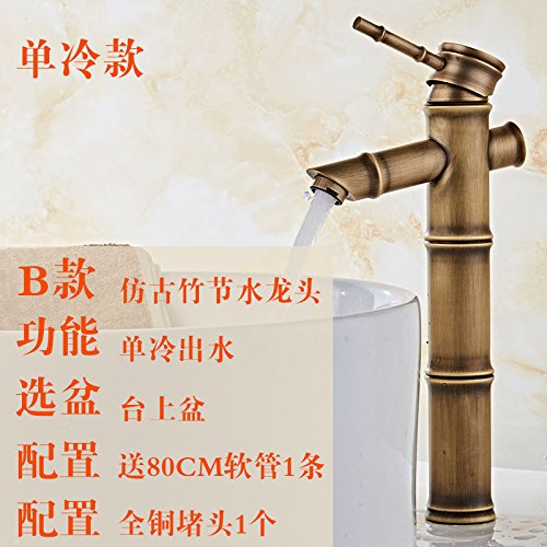 13 LHbox Basin Mixer Tap Bathroom Sink Faucet BlackAntique cold and hot-tub above antique faucet full copper antique wash basins with high bamboo-C1 single cold tap.