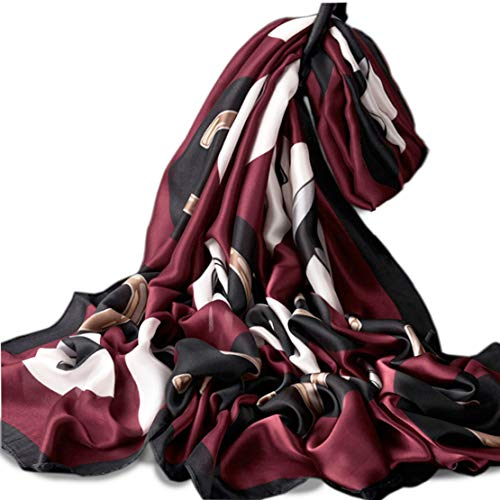 Silk Scarf Floral Long Lightweight Womens Fashion Scarves for any occasion or season (Dark Red)