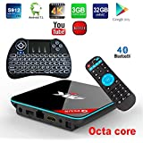 APES Q Plus QBOX+ 1080p 4K 3D 32GB ROM 3GB RAM Octa Core Android 7.1 Amlogic S912 Dual Wifi Bluetooth 4.1 TV Streaming Media Set Top Box+Backlit Wireless Keyboard Control