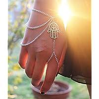 Fashion Hamsa Fatima Multilayer Bracelet Finger Ring Slave Chain Hand Harness EW