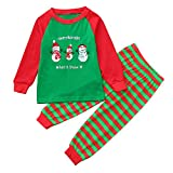 BOLUOYI Bodysuits Baby Girl 24 Months 2PCS Christmas Children Kids Snowman Letter Print Top+Stripe Pants Set Outfit Green 5Y