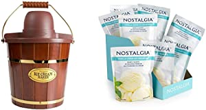 Nostalgia ICMW400 4 Quart Wood Bucket Ice Cream Maker with 8 packs of Premium Vanilla Creme Ice Cream Mix