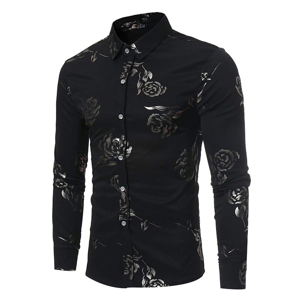 ABASSKY Fashion Men's Autumn Casual Rose Print Long Sleeved T-Shirt BusinessTop Blouse