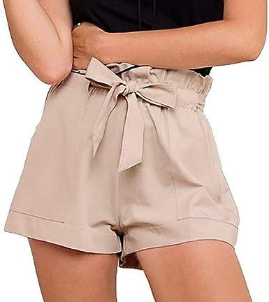 Pantalones Cortos Mujer Moda Pantalones Cortos Casuales Para Mujer De Verano Pantalones Cortos De Cintura Alta Para Mujer Pantalones Cortos Casuales De Bolsillo De Color Solido Para Mujer Amazon Es Ropa Y Accesorios