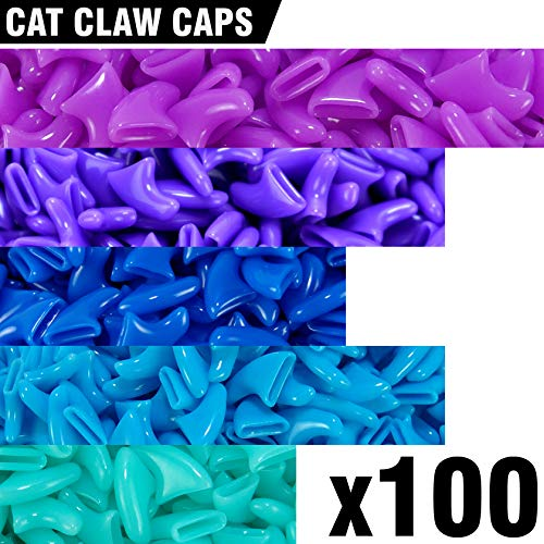 (100 pcs Soft Cat Claw Caps for Cats Nail Claws 5X Colors + 5X Adhesive Glue + 5X Applicator, Pet Tips Cover Paws Soft Covers (M, Purple, Violet, Blue, Sky Blue, Turquoise))