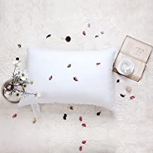 White Goose Feather Bed Pillow - 600 Thread Count Egyptian Cotton , Medium Firm,Soft Support Queen Size,White Solid, (Queen:20x28inches)