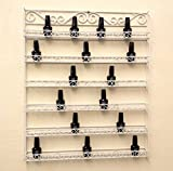 Pana White Nail Polish Display Organizer Metal Wall Mounted Rack - Fit up to 126 Nail Polish Bottles - For Home Salon Business Spa etc.