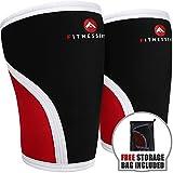 Fitnessery Compression Knee Sleeve Pair: Knee Sleeves for Knee Support - Knee Compression Sleeve Pair - Knee Sleeves Powerlifting - Knee Sleeves CrossFit - 7mm Knee Sleeves (Large)
