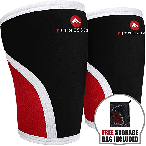 Fitnessery Compression Knee Sleeve Pair: Knee Sleeves for Knee Support - Knee Compression Sleeve Pair - Knee Sleeves Powerlifting - Knee Sleeves CrossFit - 7mm Knee Sleeves (Large) by Fitnessery