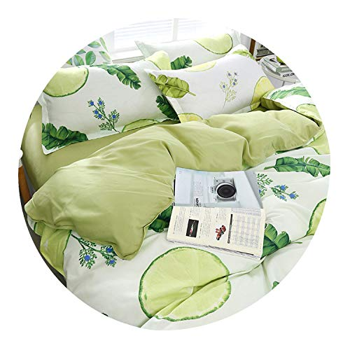 3/4pcs Fresh Green Leaf Printing Textile Bedding Set Include Duvet Cover&Sheets&Pillowcases Comfortable Home Bed Set,for…
