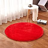 TMJJ Round Shaggy Living Room Bedroom Carpets Computer Chair Floor Mat Yoga Mat Home Decorative Area Rugs Comfortable and Soft,47.24 x 47.24-Inches,Red Review