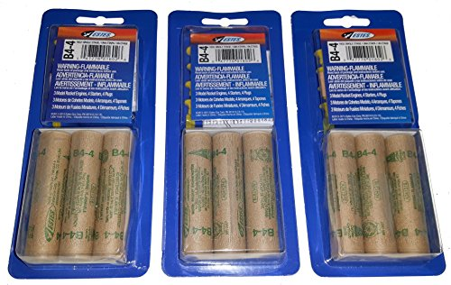 (Estes B4-4 Mini Bulk Pack - 3 Packs of 3 for 9 Engines / Motors with Starters)