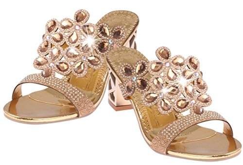 Sandals Gold Womens High T Heel Wedges Rhinestone Slippers Strap 8nnHAqxF
