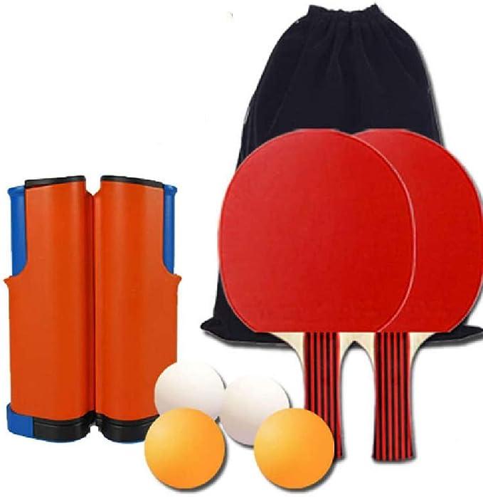 Amazon Co Jp ポータブルピンポンセット格納式卓球ネット1格納式卓球ネット2卓球バット4卓球ボールとバッグ 無料収納バッグ ホーム キッチン