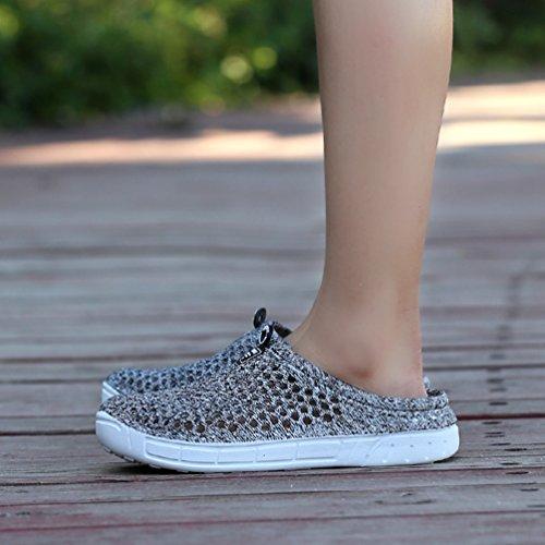 YOUJIA Unisexo Verano Al aire libre Respirable Zuecos Zapatos de la playa Agua Plano Zapatillas #2 Gris