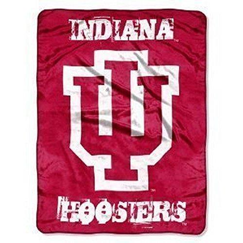 NCAA Officially Licensed Micro Raschel Plush Grunge Series Fleece Throw Blanket (Indiana Hoosiers) ()