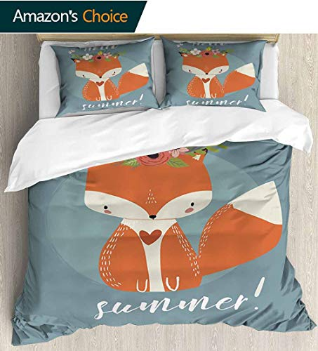 shirlyhome Hello Cotton Bedding Sets,Greetings to The Coming of Summer Season Drawing of a Fox with Flourishing Flowers Bedding Set for Teen 3PCS 90
