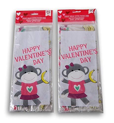 Valentine Themed Loot Treat Bags - Valentine Sock Monkeys - 50 ()