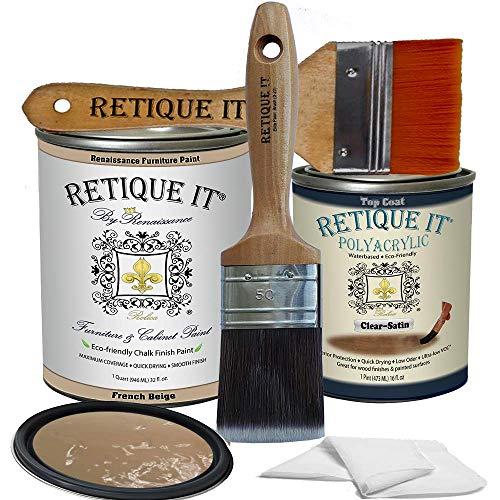 Retique It Chalk Furniture Paint by Renaissance DIY, Poly Kit, 12 French Beige, 32 Ounces