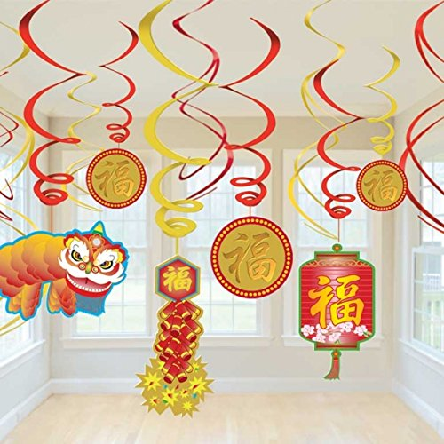 Chinese New Year Accessories Decoration - amscan Chinese New Year Hanging Swirl