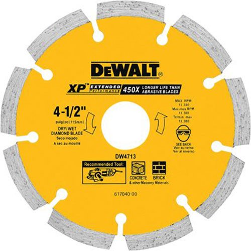 Diamond Edge Saw Blade (DEWALT DW4713 Industrial 4-1/2-Inch Dry Cutting Segmented Diamond Saw Blade with 5/8-Inch or 7/8-Inch Arbor)