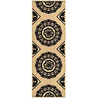 Rubber Backed 20 x 59 Medallion Beige & Black Non-Slip Contemporary Runner Rug