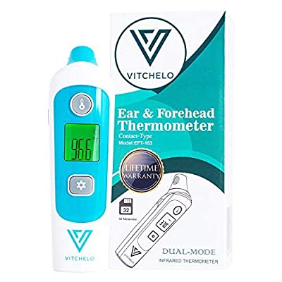 VITCHELO Forehead and Ear Thermometer for Adults Kids Babies Newborn Accurate Fever Check - FDA Approved Medical Grade Infrared Termometro Digital Baby with Color-Coded Display for Body Temperature
