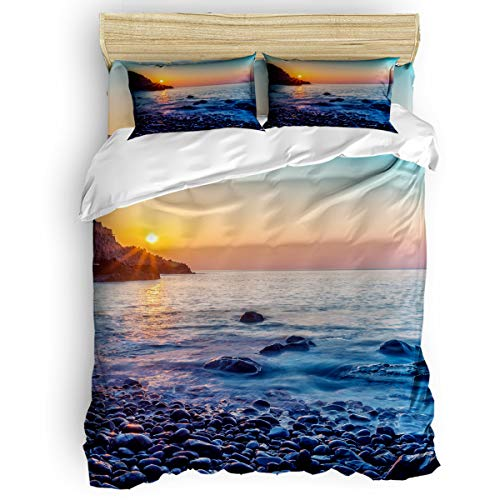 (EZON-CH 4 Piece Duvet Cover Set Kids Bedding Set Bedroom Collection,Reef On The Beach Under The Sunset Soft Child Bed Sheet Set,Include 1 Duvet Cover 1 Bed Sheets 2 Pillow Cases Twin Size)