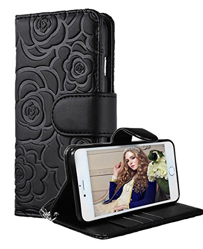 "iPhone 6 Plus Wallet Case, FLYEEChristmas Gifts Premium Vintage Emboss Flower Flip Wallet Shell PU Leather Magnetic Cover Skin with Detachable Wrist Strap Case for iPhone 6/6s Plus 5.5""(Black)"