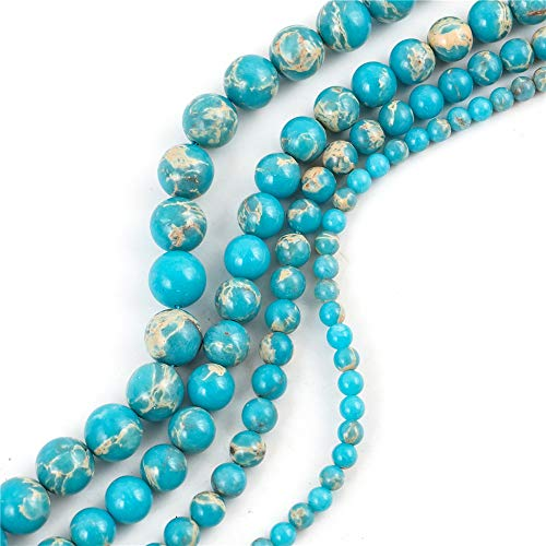 Top Quality Natural Turquoise Blue Sea Sediment Jasper Gemstone Loose Beads 10mm Round Loose Beads 15.5