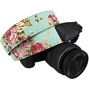 DSLR / SLR Camera Neck Shoulder Belt Strap - Wolven Canvas DSLR/SLR Camera Neck Shoulder Belt Strap for Nikon Canon Samsung Pentax Sony Olympus or Other Cameras - Green Vintage floral from Wolven