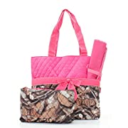 Quilted Hot Pink And Natural Camo Print Monogrammable 3 Piece Diaper Bag With Changing Pad Tote Bag