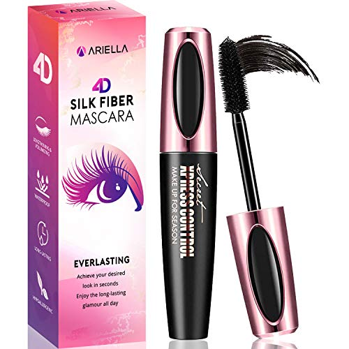 Natural 4D Silk Fiber Lash Mascara, Waterproof & Smudge-Proof, All Day Exquisitely Lush, Full, Long, Thick, Smudge-Proof Eyelashes (Best No Smudge Mascara 2019)