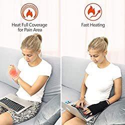 Creatrill Far Infrared Hand Wrist Heated Brace Wrap Support W/Remote Control, Auto Shut Off Heating Pads, Moist Heat for Arthritis, Carpal Tunnel, Tendonitis, Injuries, Bruises, Sprains, Pain Relief