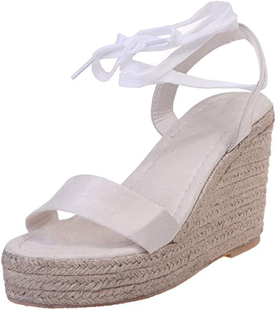 Womens Casual Espadrilles Trim Sandal Flatform Wedge Lace Up Sandals One Band Open Toe Summer Shoes