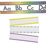 Teaching Tree Manuscript Alphabet Bulletin Back to School Board Set Creative Strips School Office Scholastic Teacher Bulletin Trim Wall Border Decal Classroom Decoration Rainbow Strips