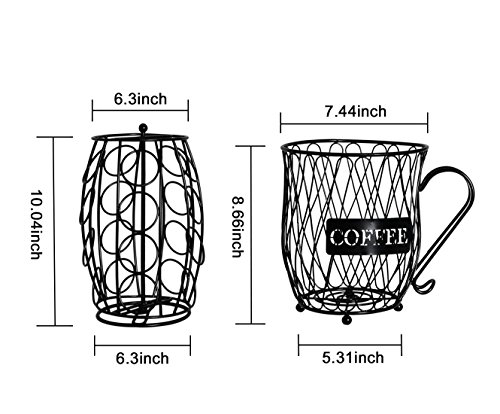 PAG Coffee Pod Holder with Storage and Metal Wire Mug Fruit Basket, Black by PAG (Image #4)