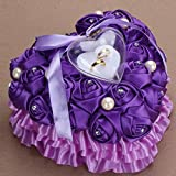 bgblgf M Romantic Rose Wedding Ring Cushion Heart Ring Pillow Jewelry Box NEW, purple, 2525cm