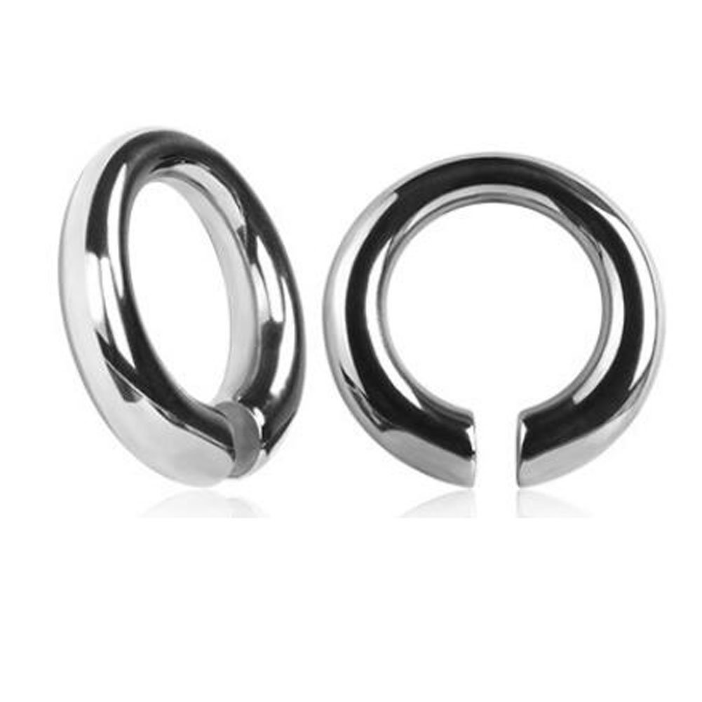 Peki Plugs 2g (6mm) Stainless Steel Triangle Circle Square Oval Hang Ear Gauges (Circle (Silver))
