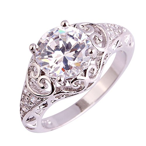 Psiroy 925 Sterling Silver Created White Topaz Filled Floral Cocktail Anniversary Ring Size ()