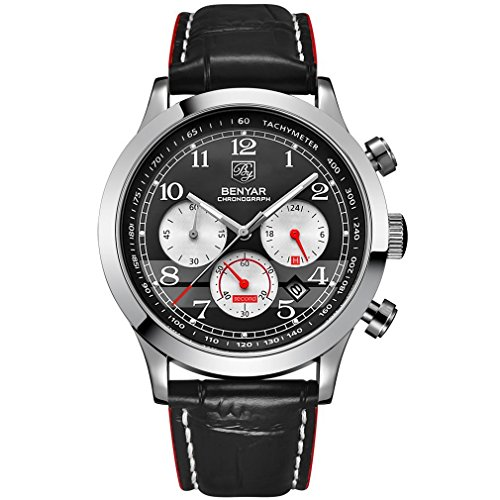 Gentlemans Chronograph Watch Black Dial (Men Quartz Chronograph Waterproof Wrist Watches Business Gentleman Black Leather Band Strap Sports Watch (Silver Red))