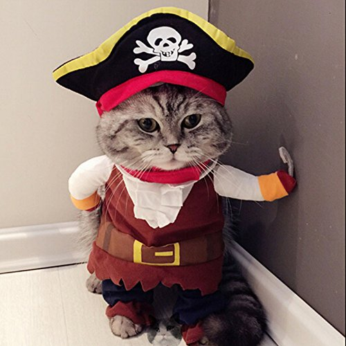 Idepet New Funny Pet Clothes Pirate Dog Cat Costume Suit Corsair Dressing up Party Apparel Clothing for Cat Dog Plus Hat ()