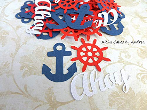 Anchor Nautical Confetti (2 packs of 60), Ahoy Its A Boy, Anchor Ships Captains Wheel, Navy Blue White Red, Baby Shower Decorations, Boy Baby Shower Themes, Nautical Theme Shower ()