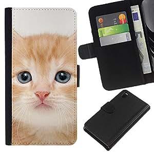 Maine Coon American Shorthair - la tarjeta de Crédito Slots PU Funda de cuero Monedero caso cubierta de piel Sony Xperia Z3 D6603