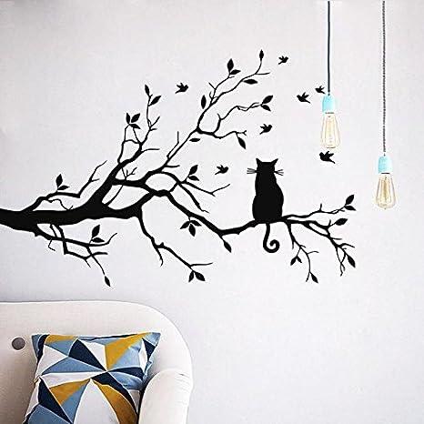 LuckES Pegatina de pared Decoración de hogar, gato, 58x38cm, Pegatinas decorativas para pared con diseño de gato y ramas fáciles de retirar, ...