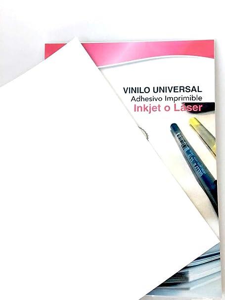 Vinilo adhesivo Imprimible UNIVERSAL para Láser e Inkjet (20 ...