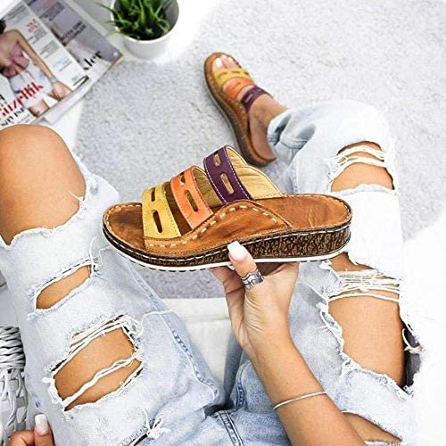 Women Chic Three-color Stitching Sandals De Mujer