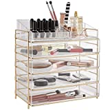 Beautify Large 5 Tier Clear Acrylic Cosmetic Makeup Storage Cube Organizer with 4 Drawers, Upper Compartment with Champagne Gold Frame - H14.4 x L13.5 x W9.4 Inches