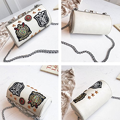GAOQQ Brief Bag Maiden Fashion Chain Mini Cylinder Crossbody Bag Blanco Solo Bolso De Hombro