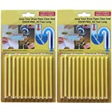 Zooarts 24pcs(2 Packs) Lemon Enzymatic Drain Sticks - Helps to Prevent Blockages Forming - 1 Year of Protection Per Packet